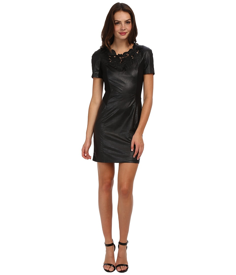 Adrianna Papell - Faux Leather Dress w/ Floral Detail Trim (Black) Women