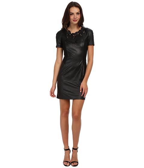Adrianna Papell - Faux Leather Dress w/ Floral Detail Trim (Black) Women's Dress