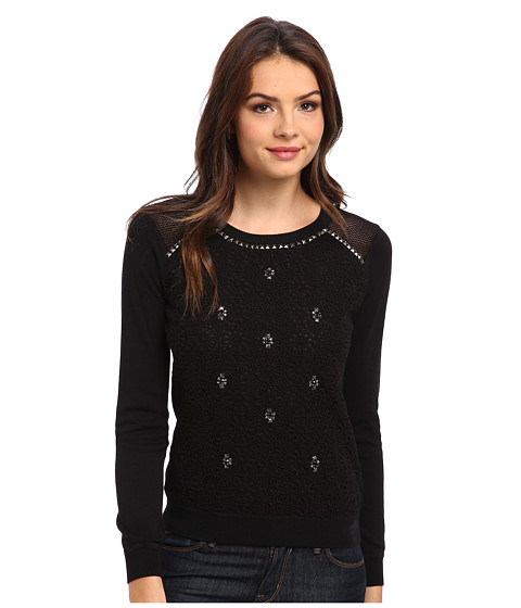 Adrianna Papell - Beaded Lace Pullover (Black w/ Black Lace) Women