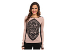 Adrianna Papell Geometric Motif Color Block Boatneck Sweater (Shell Heather/Black)