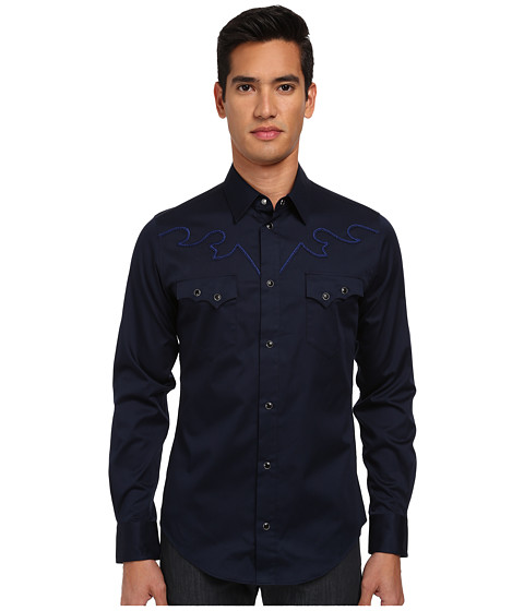 Vivienne Westwood MAN - Western Cowboy Shirt (Navy) Men's Long Sleeve Button Up