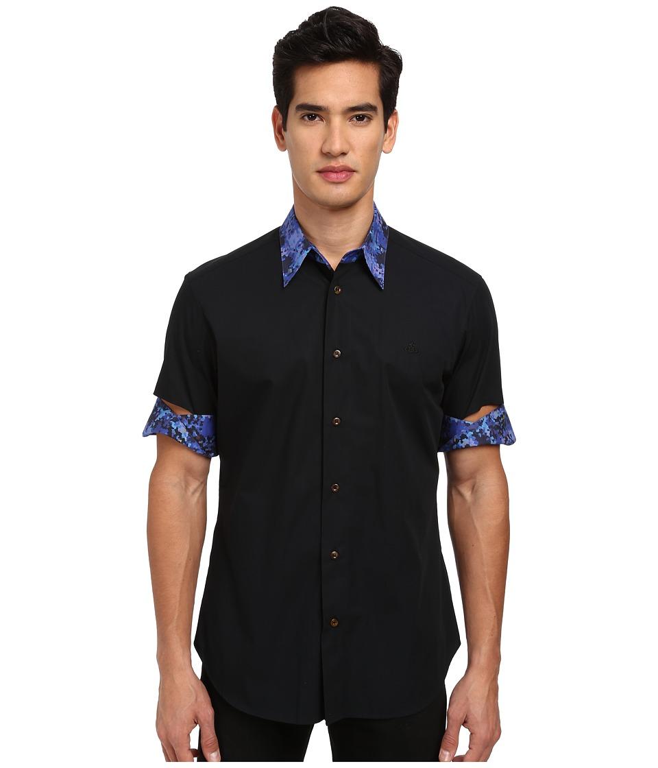 Vivienne Westwood MAN - S/S Button Up w/ Cut Out Sleeve (Black) Men