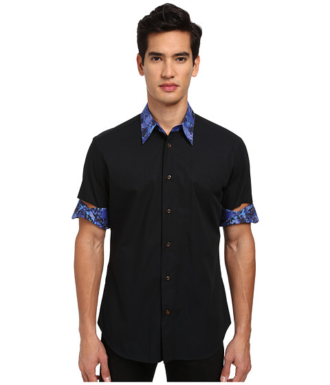 Vivienne Westwood MAN - S/S Button Up w/ Cut Out Sleeve (Black) Men's Clothing