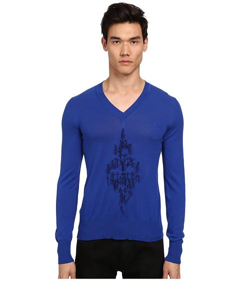Vivienne Westwood MAN - Diamond Embroidered V-Neck Sweater (Cobalt/Cobalt/Academy) Men's Sweater