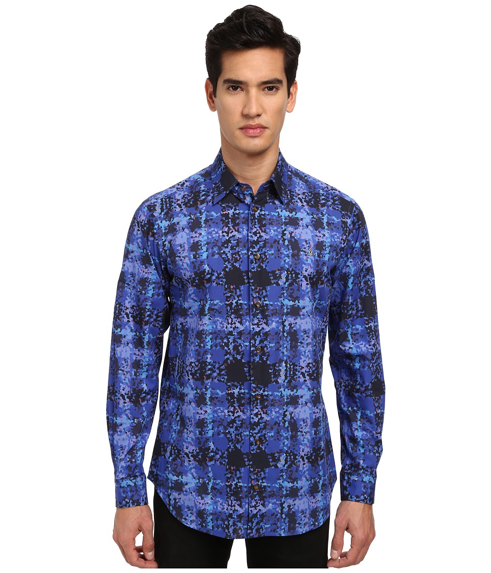 Vivienne Westwood - Crystallized Tartan Button Up (Blue Multi) Men's Clothing