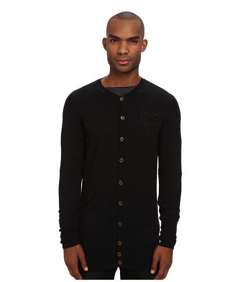 Vivienne Westwood MAN - Diamond Embroidered Long Cardigan (Black) Men's Sweater