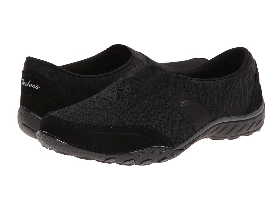 SKECHERS - Breathe Easy - Resolution (Black) Women's Slip on Shoes