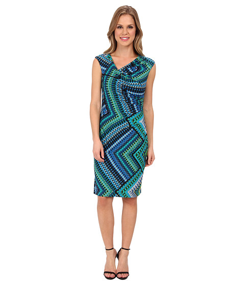 Ellen Tracy - Cowl Neck Printed Jersey (Blue Multi) Women's Dress