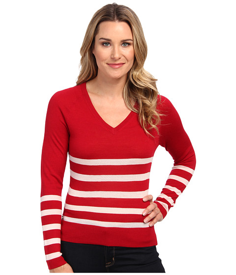 Lacoste - Long Sleeve Placement Stripe V-Neck Sweater (Lacquer/Lotus) Women's Sweater