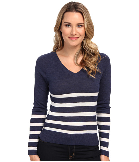 Lacoste - Long Sleeve Placement Stripe V-Neck Sweater (Dark Indigo Blue/Flour) Women