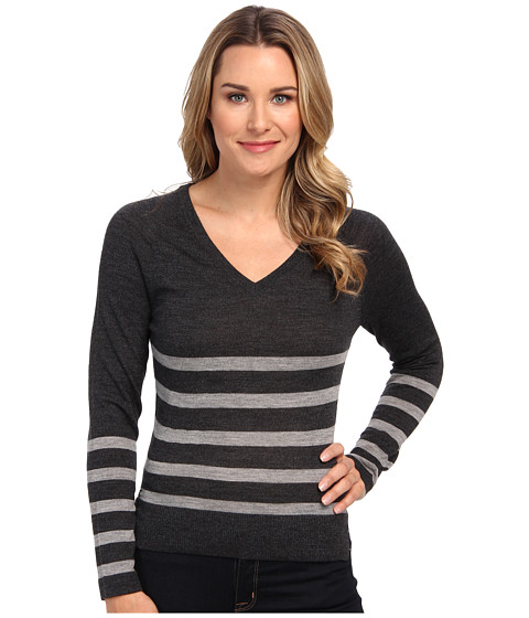 Lacoste - Long Sleeve Placement Stripe V-Neck Sweater (Dark Grey Jaspe/Aluminium) Women