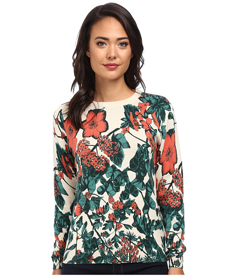 Lacoste - L!VE Long Sleeve Floral Print Sweater (Multico) Women's Sweater