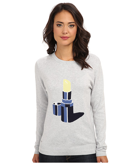 Lacoste - L!VE Long Sleeve Lipstick Graphic Sweater (Paladium Chine/Navy Blue) Women's T Shirt