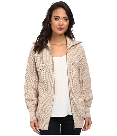Lacoste - Long Sleeve Chunky Wool Sweater Jacket (Wax/Nuts) Women's Jacket