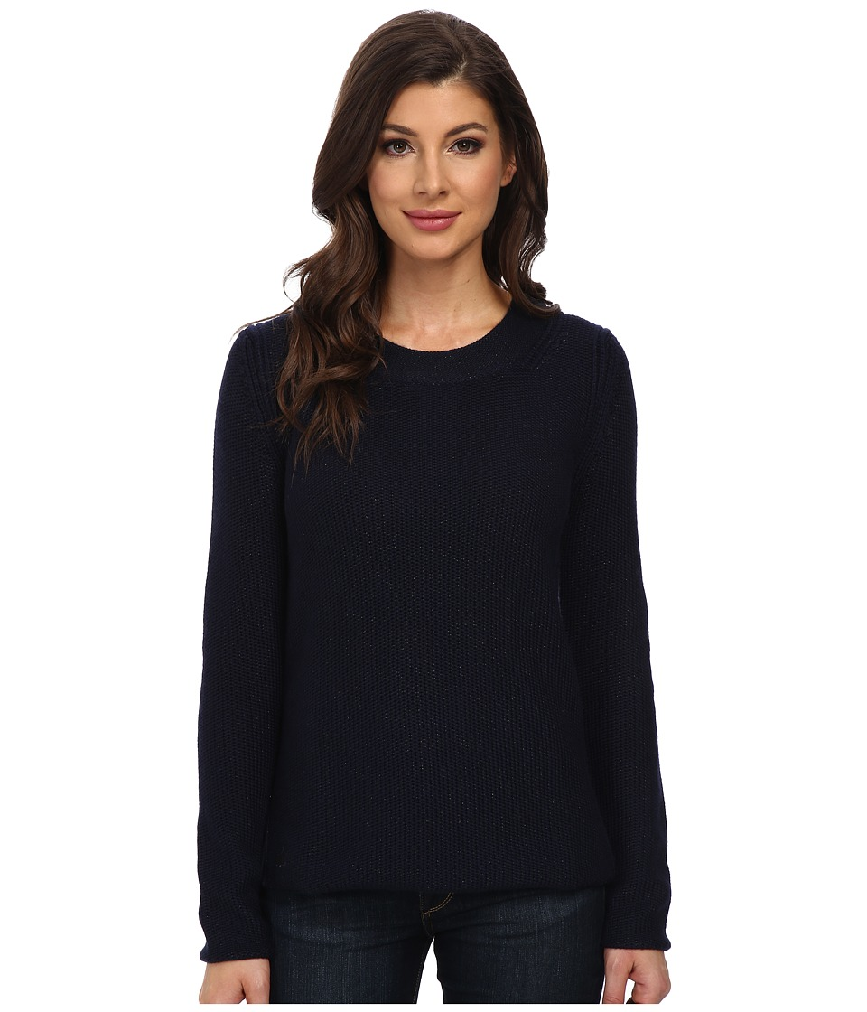 Lacoste - Long Sleeve Lurex Crew Neck Sweater (Navy Blue) Women