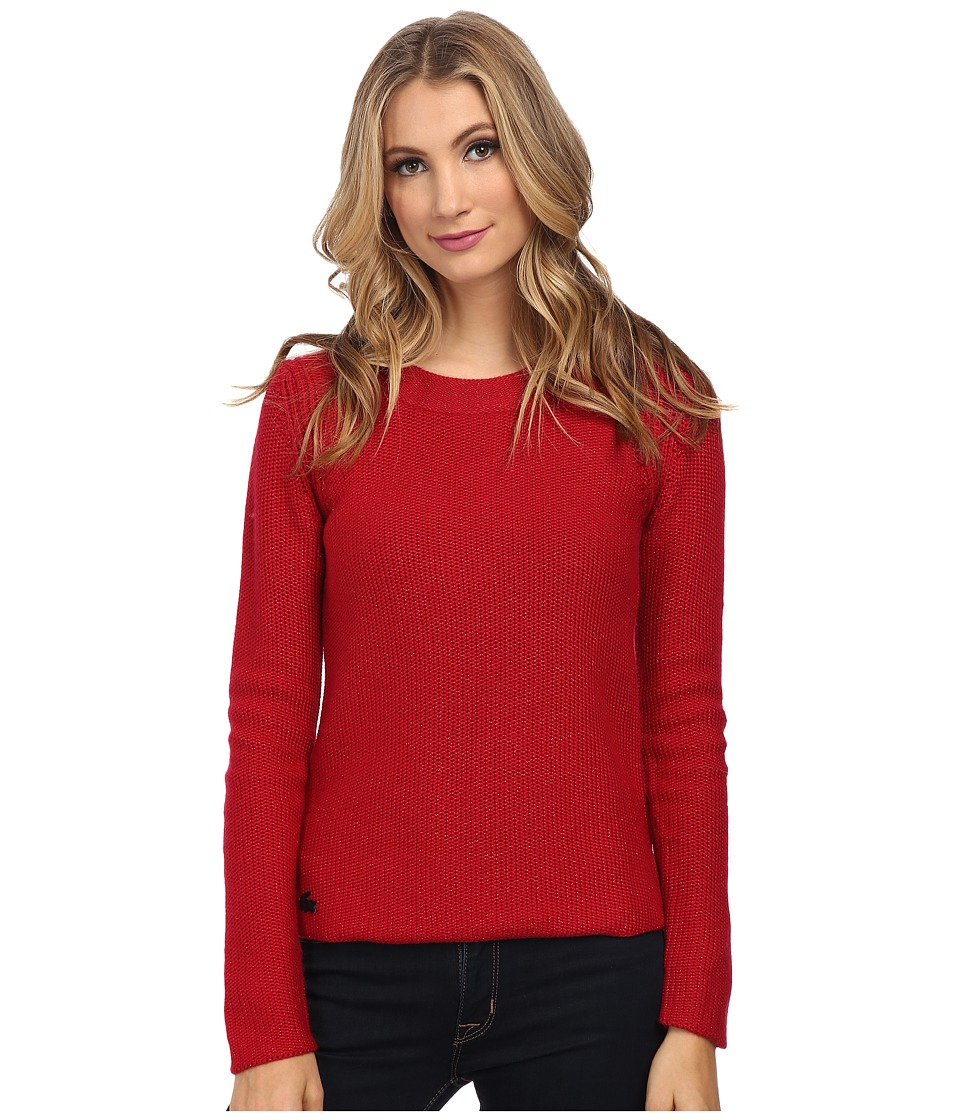 Lacoste - Long Sleeve Lurex Crew Neck Sweater (Lacquer) Women