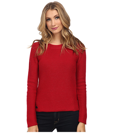 Lacoste - Long Sleeve Lurex Crew Neck Sweater (Lacquer) Women's Sweater