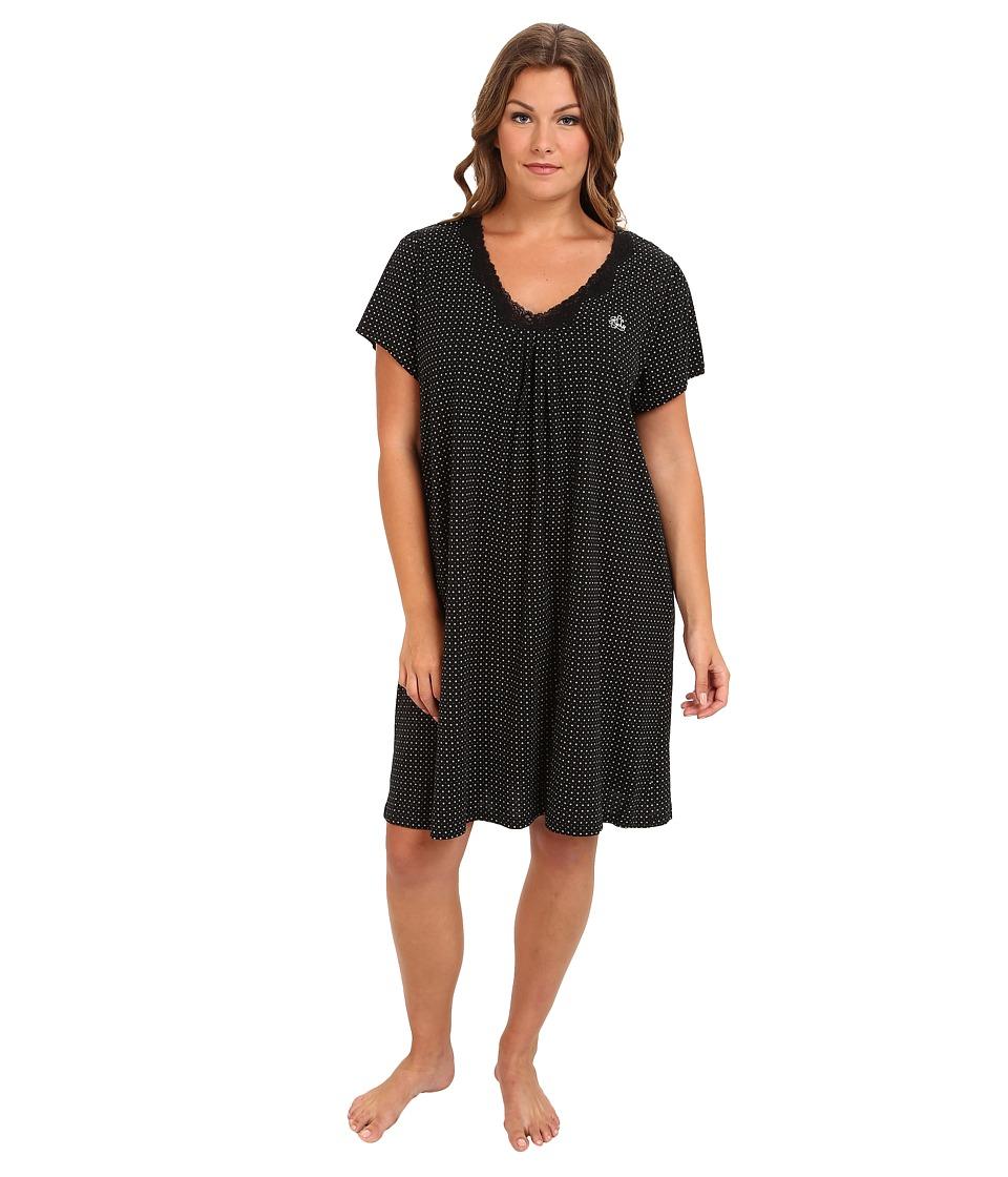 LAUREN by Ralph Lauren - Plus Size Vintage Hollywood Short Gown (Davis Dot Black/Cream) Women