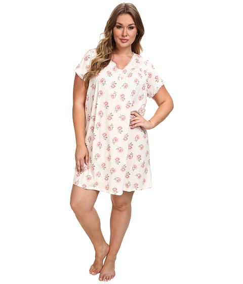 LAUREN by Ralph Lauren - Plus Size High Grove S/S Short Gown (Ivory Floral) Women's Pajama