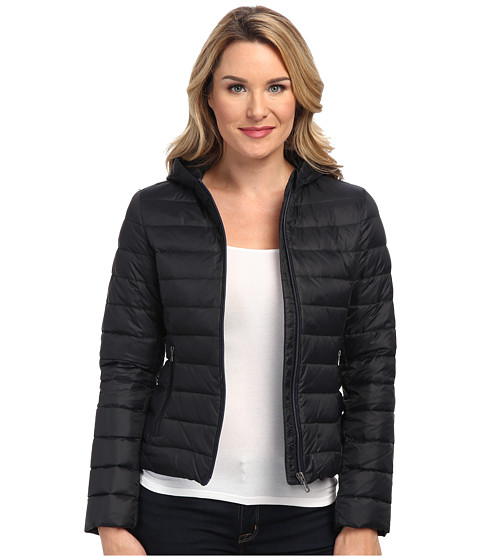 Lacoste - Long Sleeve Padded Jacket (Black/Black/Navy Blue) Women's Coat