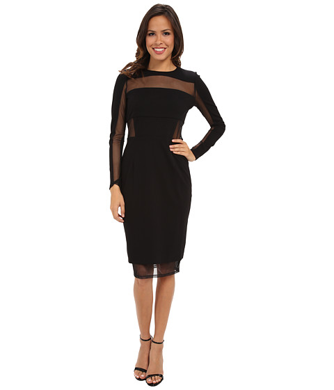 Ivy & Blu Maggy Boutique - Long Sleeve Solid Midi Length Sheath w/ Mesh Inserts (Black) Women's Dress