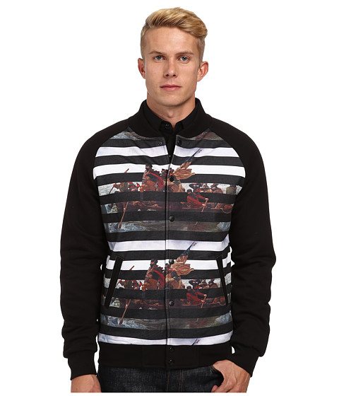 Crooks & Castles - Liberated Knit Baseball Jacket (Black Multi) Men