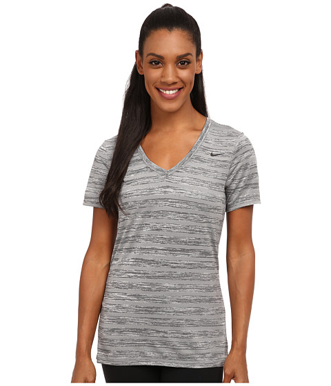 Nike - V-Neck Legend Short Sleeve Veneer Tee (Black Heather/Black) Women's T Shirt