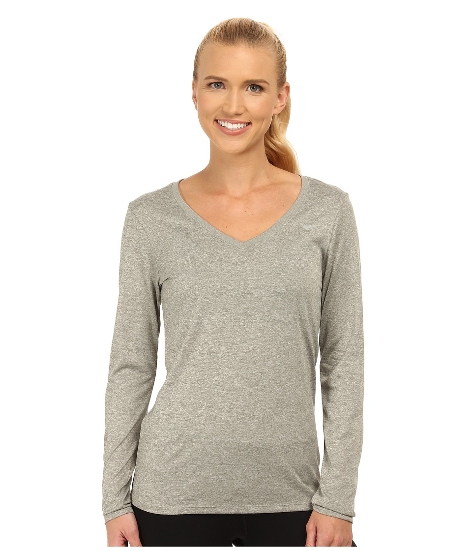 Nike - Legend 2.0 Training Top (Dark Grey Heather/Medium Grey) Women's Long Sleeve Pullover