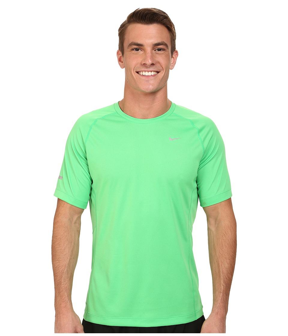 Nike - Miler S/S UV Shirt (Team) (Light Green Spark/Light Green Spark/Reflective Silver) Men's Short Sleeve Pullover