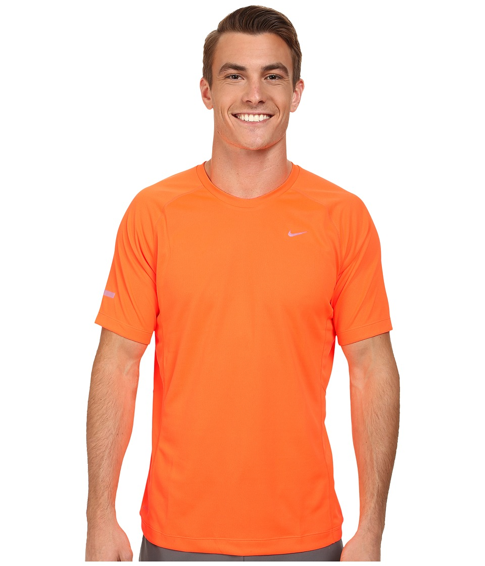 Nike - Miler S/S UV Shirt (Team) (Total Orange/Reflective Silver) Men's Short Sleeve Pullover