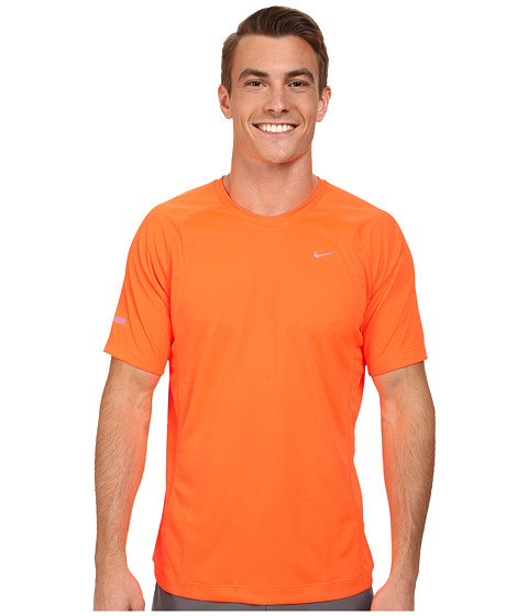 Nike - Miler S/S UV Shirt (Team) (Total Orange/Reflective Silver) Men
