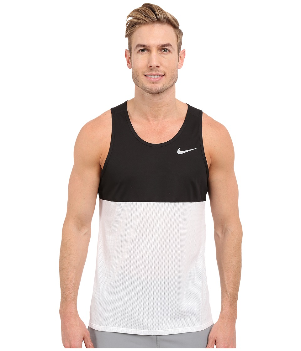 Nike - Dry Running Tank (Black/White/Black/Reflective Silver) Men's Sleeveless