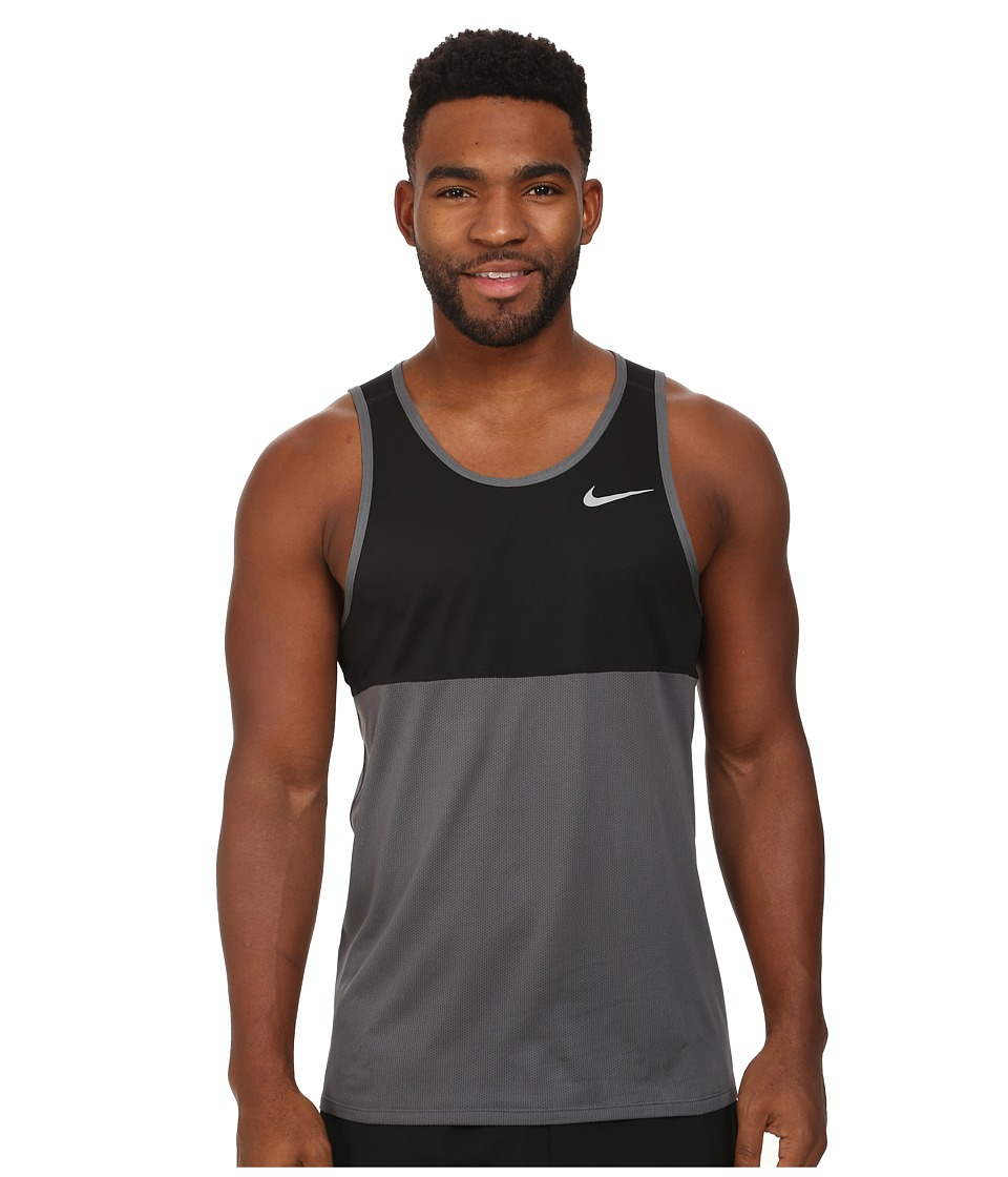 Nike - Dry Running Tank (Dark Grey/Black/Dark Grey/Reflective Silver) Men's Sleeveless