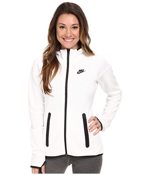 Nike - Tech Fleece Full-Zip Hoodie (White/Black/Black) Women