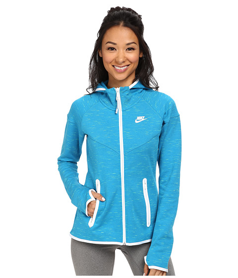 Nike - Tech Fleece Full-Zip Hoodie (Light Blue Lacquer/White/White) Women's Sweatshirt