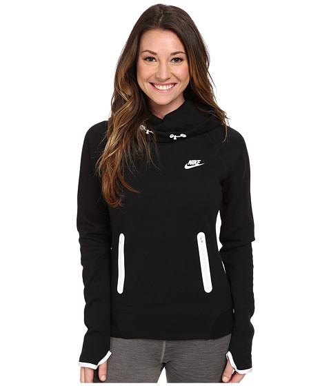 Nike - Tech Fleece Pullover Hoodie (Black/White/White) Women