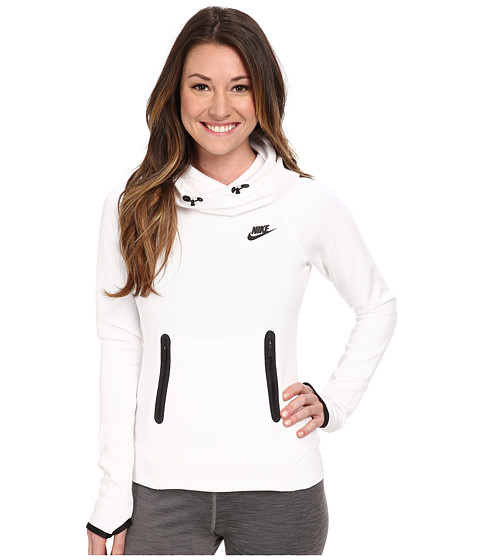 Nike - Tech Fleece Pullover Hoodie (White/Black/Black) Women's Sweatshirt