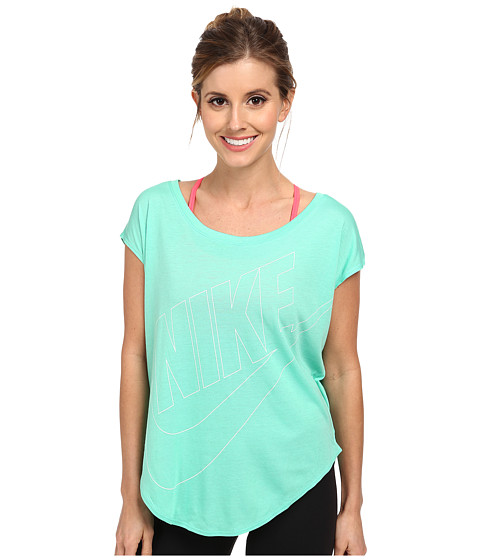 Nike - Signal Futura Logo Tee (Verde/White) Women's T Shirt