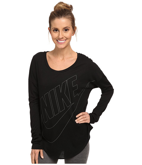Nike - Signal L/S Tee w/ Curved Hem (Black/White) Women