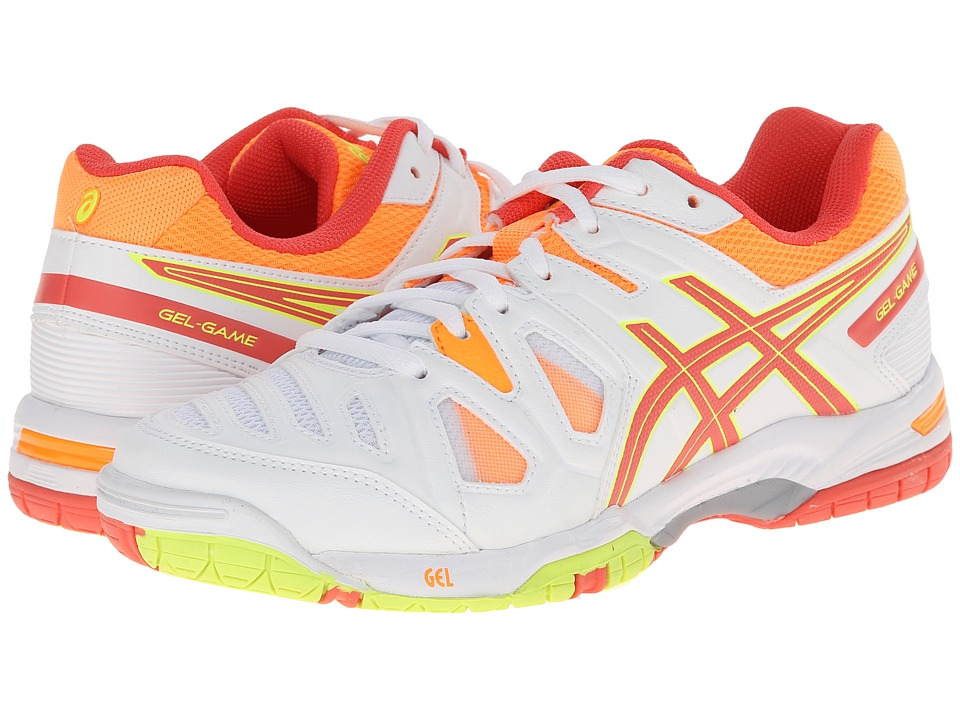 ASICS - Gel-Game 5 (White/Hot Coral/Nectarine) Women