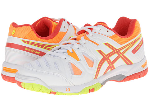 ASICS - Gel-Game 5 (White/Hot Coral/Nectarine) Women's Tennis Shoes