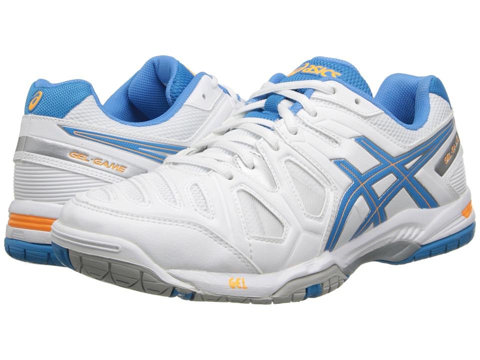 ASICS - Gel-Game 5 (White/Soft Blue/Nectarine) Women's Tennis Shoes