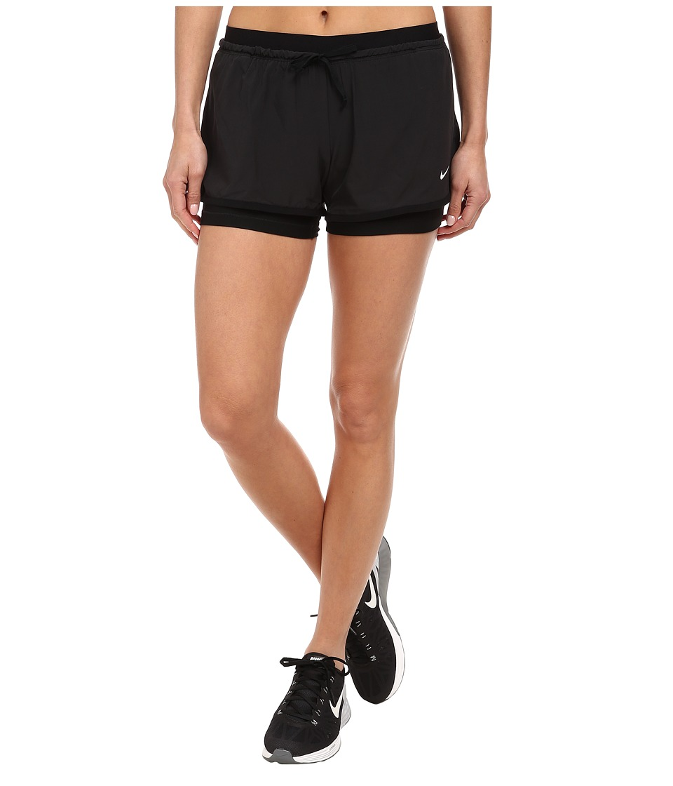 Nike - Dri-FIT Full Flex 2-in-1 Short (Black/Black/Black/White) Women's Shorts