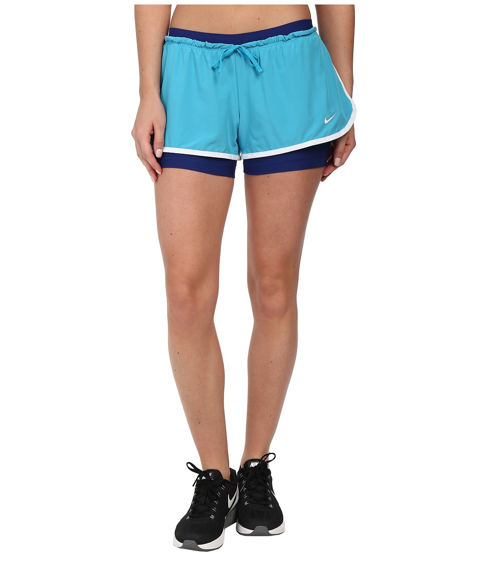 Nike - Dri-FIT Full Flex 2-in-1 Short (Blue Lagoon/White/Deep Royal Blue/White) Women's Shorts