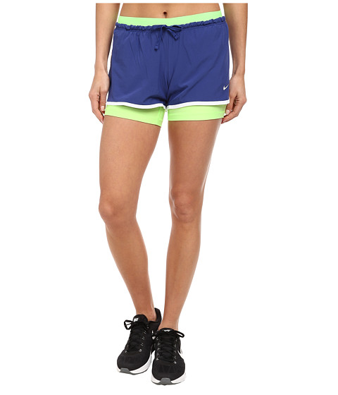 Nike - Dri-FIT Full Flex 2-in-1 Short (Deep Royal Blue/White/Flash Lime/White) Women
