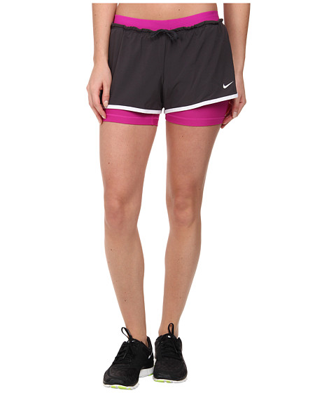 Nike - Dri-FIT Full Flex 2-in-1 Short (Anthracite/White/Fuchsia Flash/White) Women