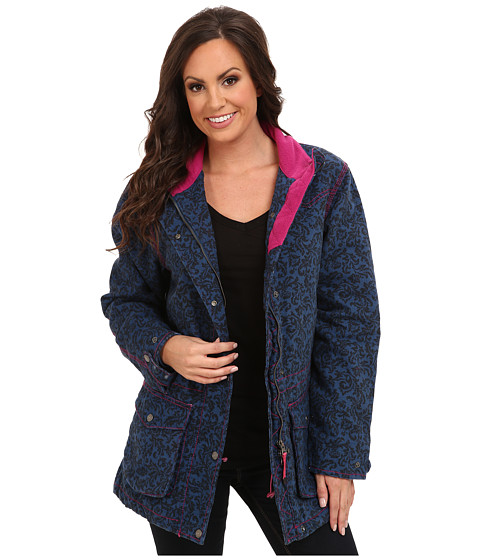 Roper - Navy Velvet Print On Canvas Barn Jacket (Blue) Women's Coat