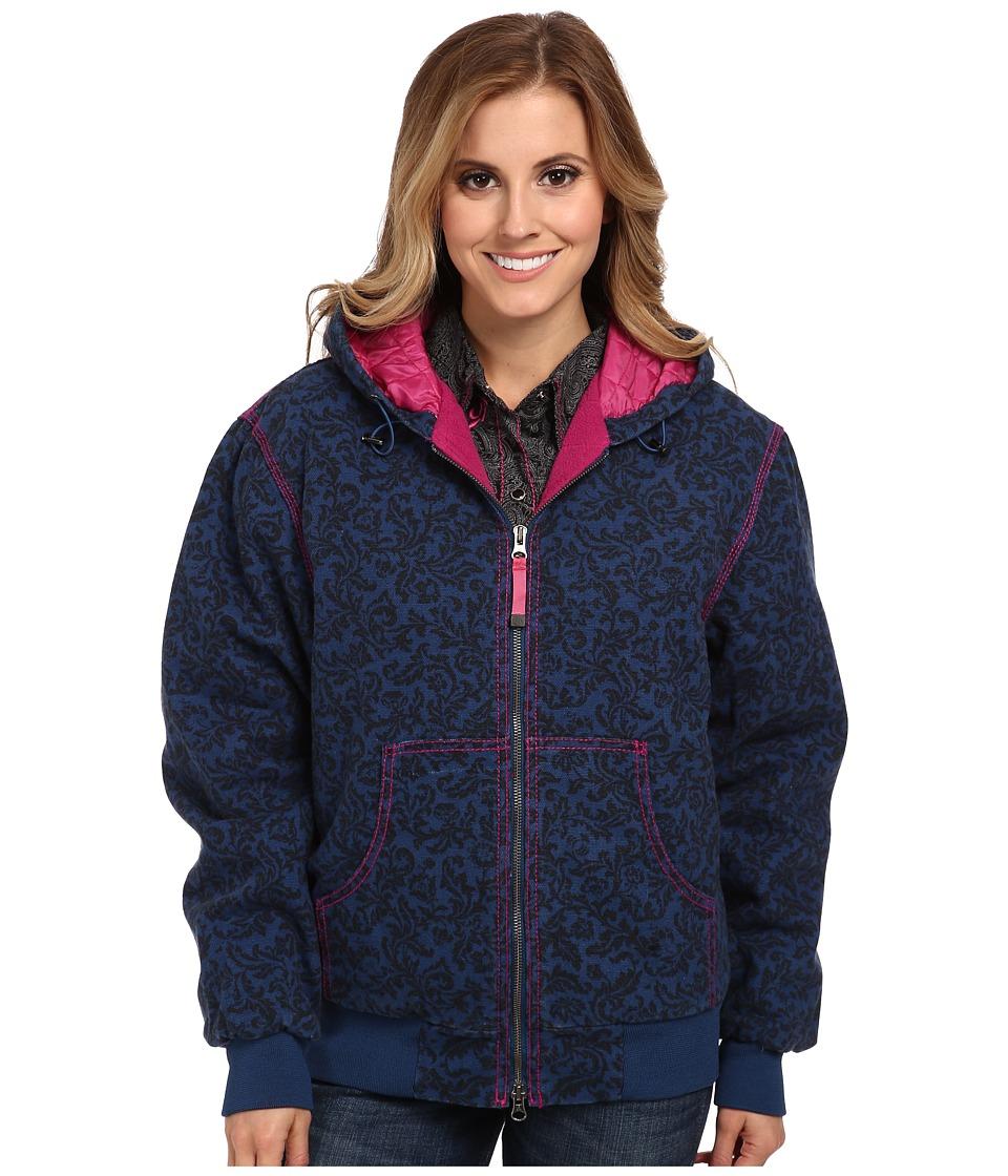 Roper - Navy Velvet Print On Canvas Jacket w/ Hood (Blue) Women