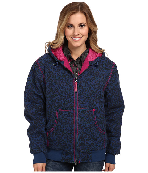 Roper - Navy Velvet Print On Canvas Jacket w/ Hood (Blue) Women's Sweatshirt
