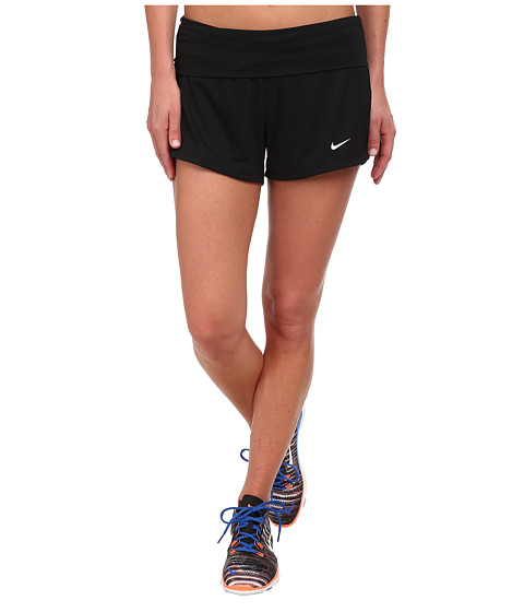 Nike - Dri-FIT Knit Short w/ Fold-Over Waistband (Black/Black/White Multi Snake) Women's Shorts